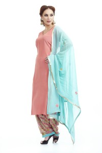 Peach Crepe suit with embroidered salwar