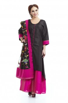 Black silk  anarkali paired with jacket and dupatta
