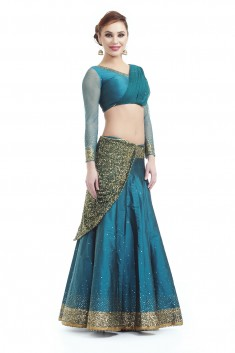 Buy Teal green sequins lehenga with attached dupatta Online in Indonesia