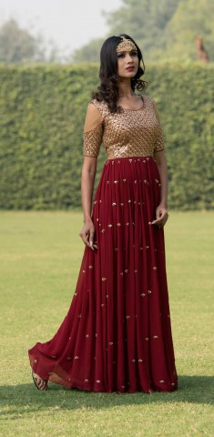 Buy Maroon Anarkali: Dabka And Sequins Online in Switzerland