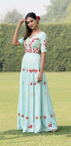 Buy Light Blue Anarkali: Hand Embroidery On Silk With Sequins And French Knots Online in Chennai