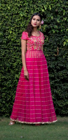 Buy Pink Anarkali With Cigerette Pants: Gota Patti Online in Australia