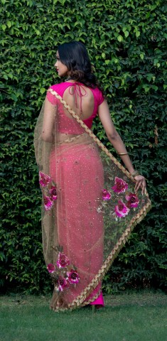 Buy Pink Saree: Drape With Sequins And 3D Cut Glass Online in Bangladesh
