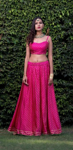 Buy Pink Lehenga With Pink Blouse Online in Panipat