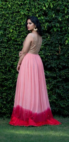 Buy Peach Gown With Sequins Online in Raipur