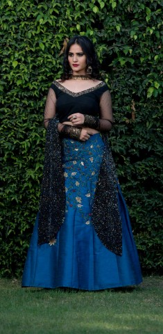 Buy Royal Blue Lehenga With Black Net Blouse Online in Navi Mumbai