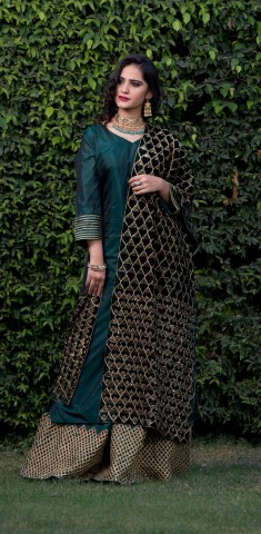 Buy Dark Green Suit With Sequins, Dabka Dupatta Online in Singapore