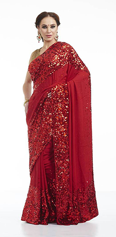 Buy Red saree , sitara handwork Online in Taiwan