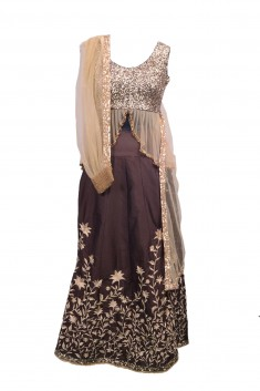Buy Chocolate brown lehenga with cuff dupatta Online in Indonesia