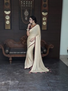 Buy Beige Chiffon saree with velvet zardosi blouse Online in Australia