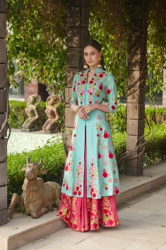Buy Pastel embroidered suit lehenga Online in Indonesia